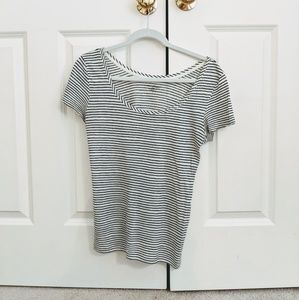 LOFT Linen Striped Scoop Neck Tee